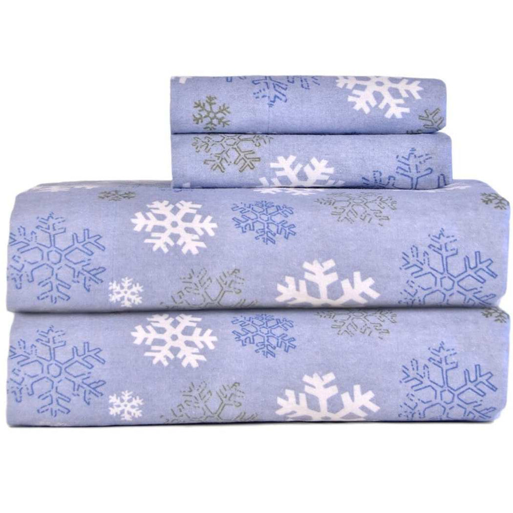 Snowflakes Sheet Set Falling Snow Flakes Winter Season Bedding Features Hypoallergenic Eco Friendlyy Elasticized Fitted