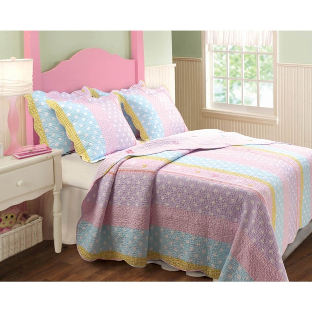 Girls Pastel Butterfly Stripe Quilt Set Pretty Girly Polka Dot Buttflies Bedding Cute Fun Striped Vertical Polkadot Dots Themed Pattern