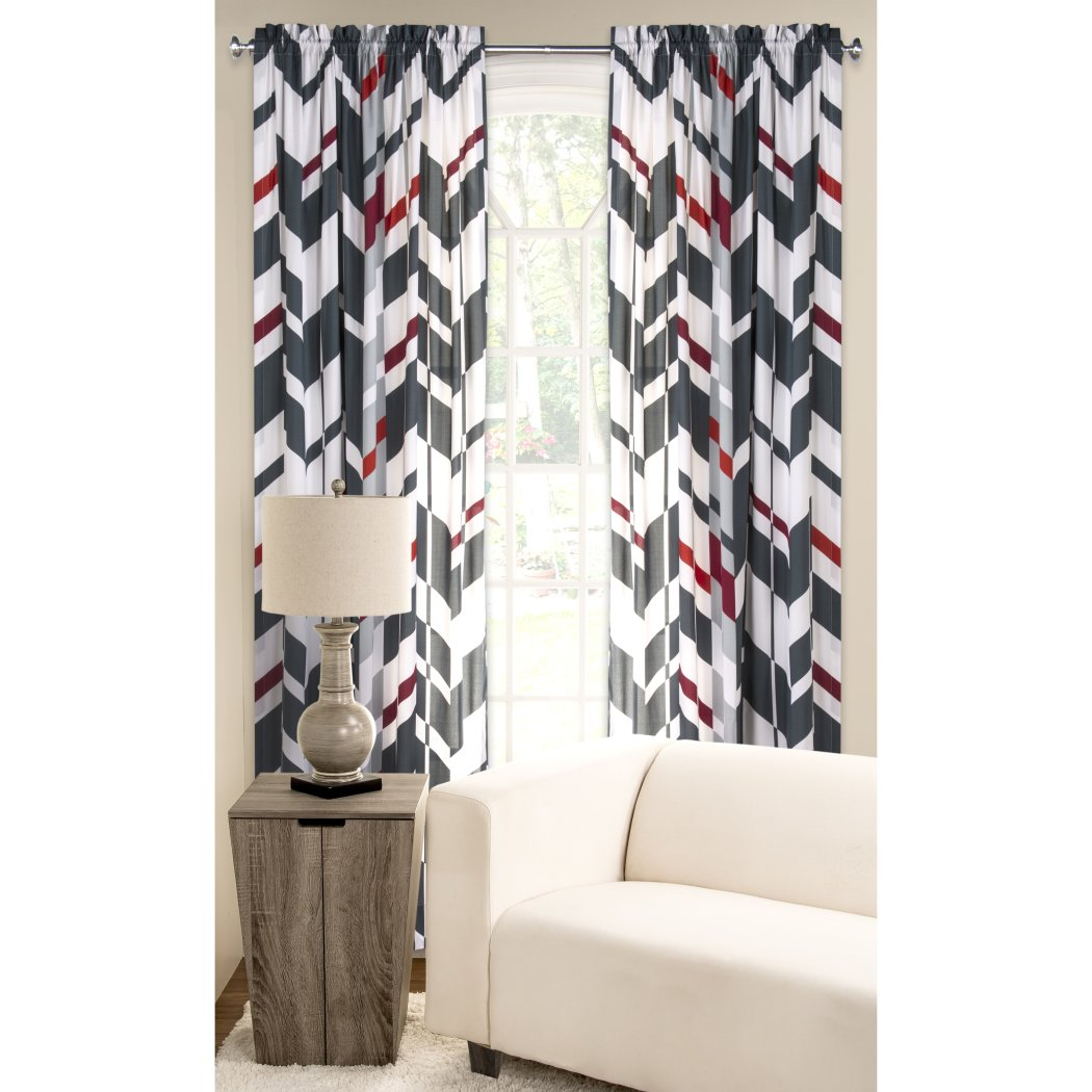 Black Red White Chevron Window Curtain 84 Inch Zig Zag Single Panel Geometric Pattern V Shaped Stripe Microfiber Polyester Vibrant Modern Stylish - Diamond Home USA