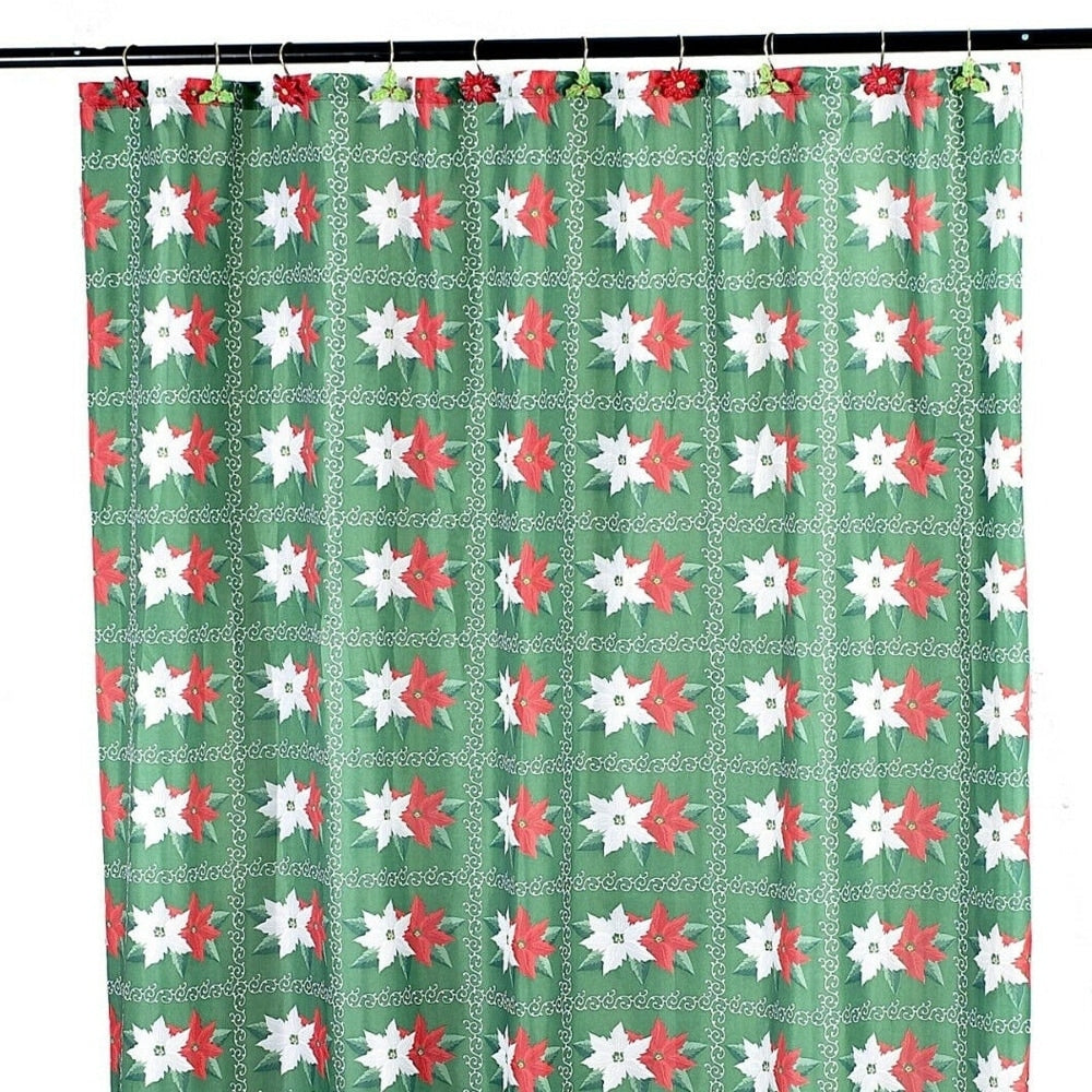 "Polyester Shower Curtain Green Holiday 70"" x 72"" Floral Traditional Polyester - Diamond Home USA"