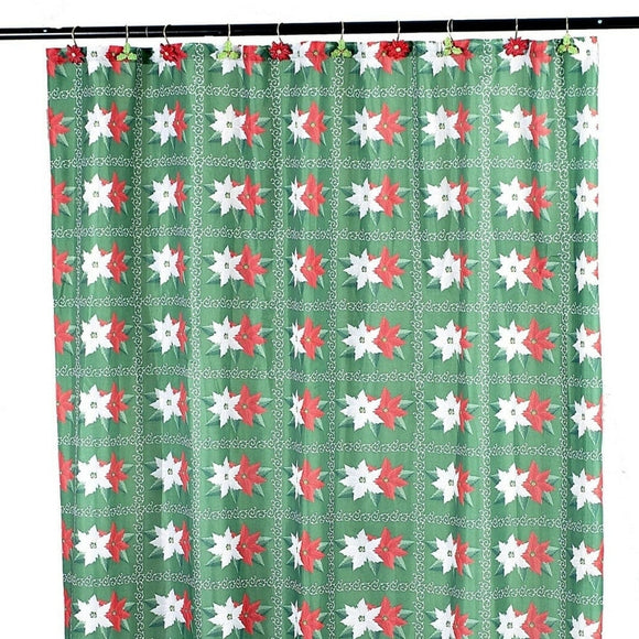 Polyester Shower Curtain Green Holiday 70