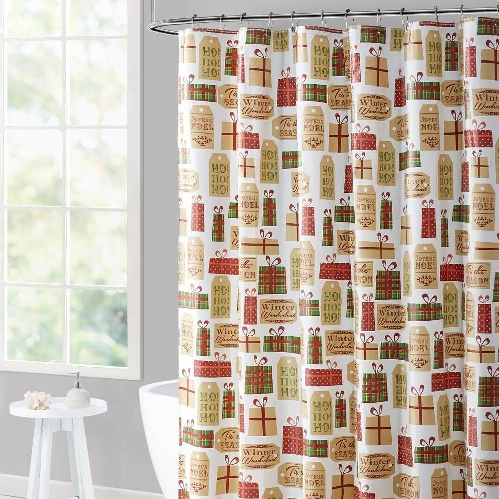 "Polyester Shower Curtain Holiday Gifts 70"" x 72"" Green Graphic Print Traditional Polyester - Diamond Home USA"
