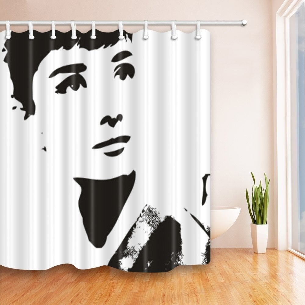 "Polyester Shower Curtain with Hooks Audrey Hepburn 72"" x Black Graphic Print Vintage Polyester - Diamond Home USA"