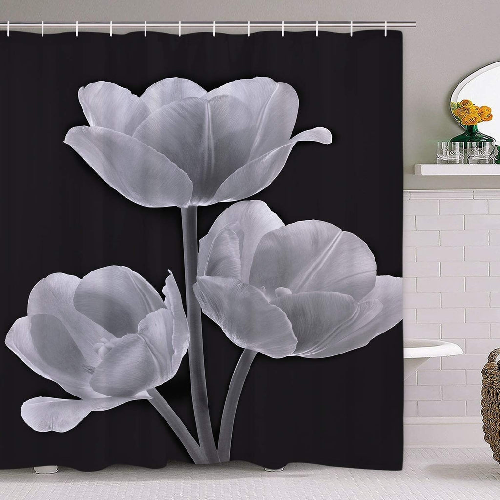 "Polyester Shower Curtain with Hooks Beautiful Flower 72"" x White Floral Vintage Polyester - Diamond Home USA"