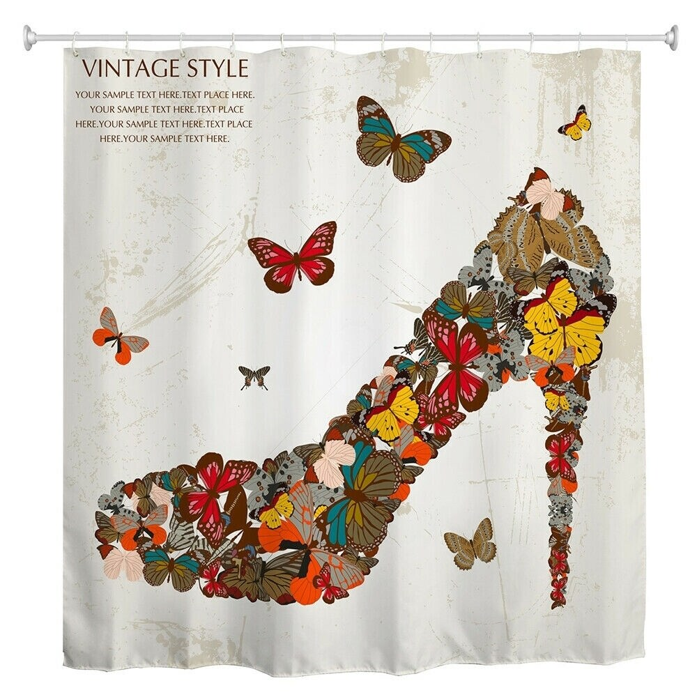 "Polyester Shower Curtain with Hooks Butterfly High Heels 72"" x Brown Animal Print Vintage Polyester - Diamond Home USA"