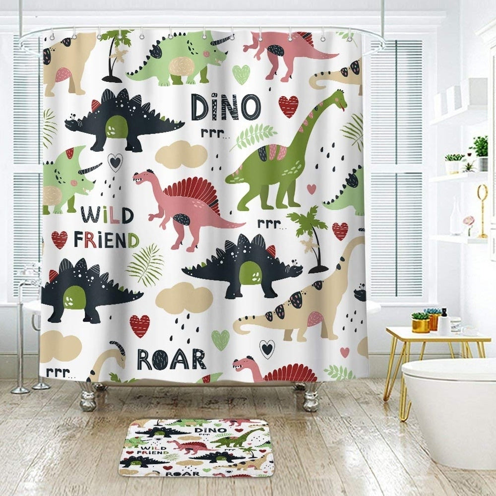 "Polyester Shower Curtain with Hooks Cartoon Dino 72"" x Green Animal Print Vintage Polyester - Diamond Home USA"