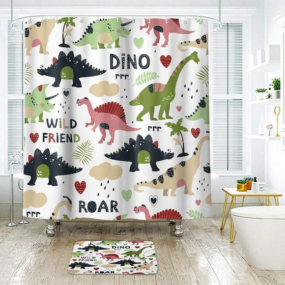 Polyester Shower Curtain with Hooks Cartoon Dino 72