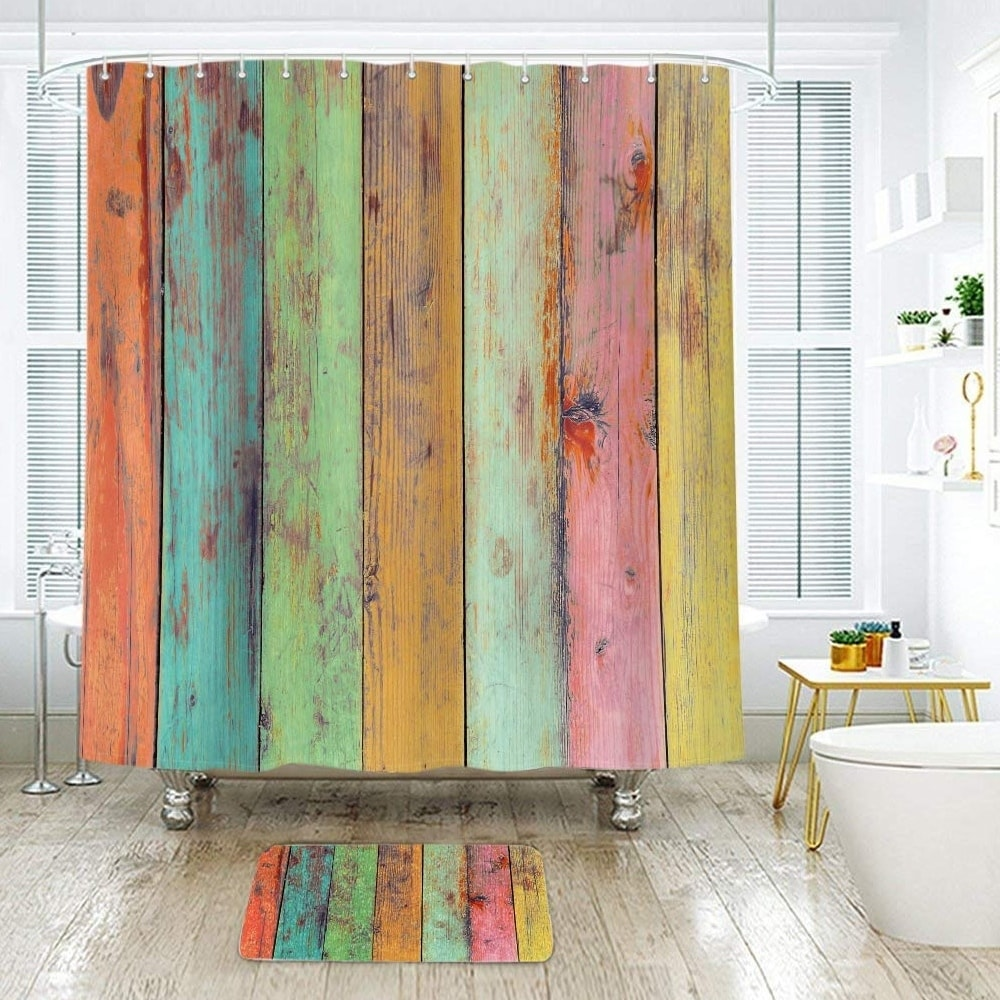 "Polyester Shower Curtain with Hooks Colored Stripe 72"" x Green Striped Vintage Polyester - Diamond Home USA"