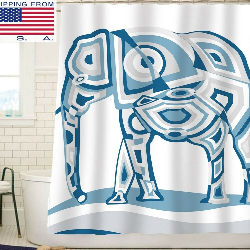 "Polyester Shower Curtain with Hooks Elephant Blue 72"" x Animal Print Vintage Polyester - Diamond Home USA"