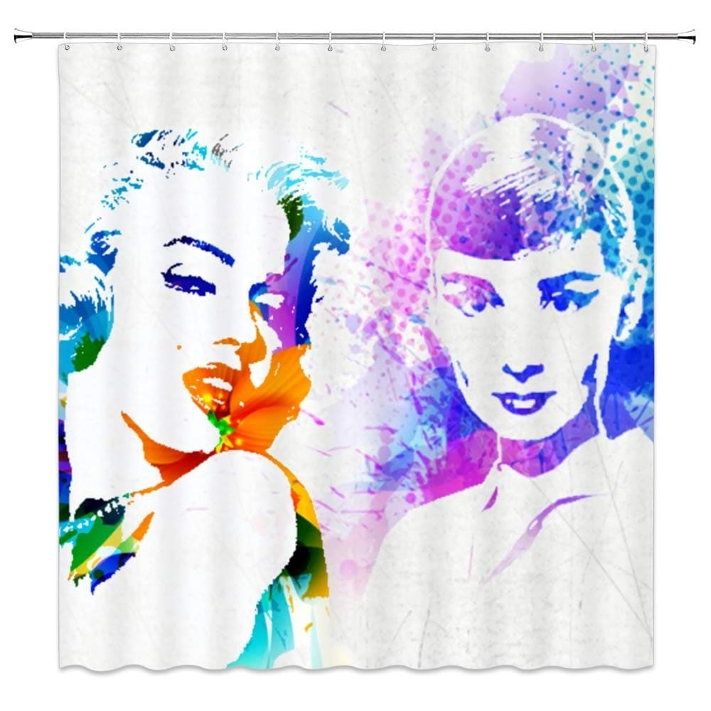 "Polyester Shower Curtain with Hooks Hepburn and Monroe 70"" x Pink Graphic Print Vintage Polyester - Diamond Home USA"