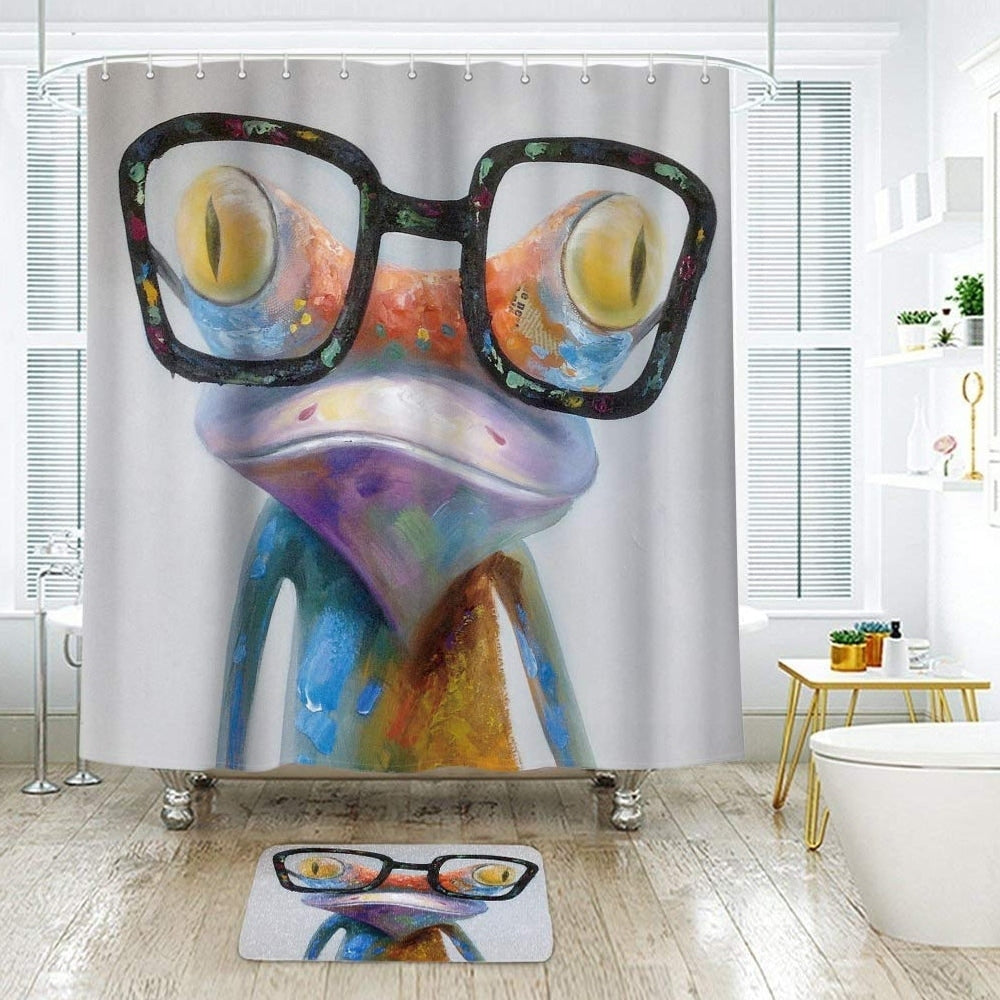 "Polyester Shower Curtain with Hooks Hipster Frog 72"" x Purple Animal Print Vintage Polyester - Diamond Home USA"