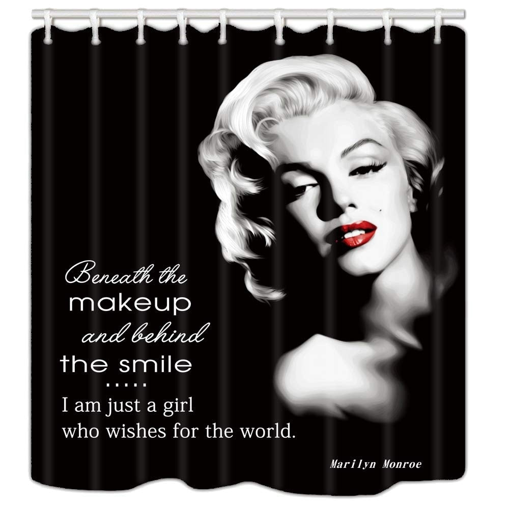 "Polyester Shower Curtain with Hooks Marilyn Monroe Makeup 72"" x Black Graphic Print Vintage Polyester - Diamond Home USA"