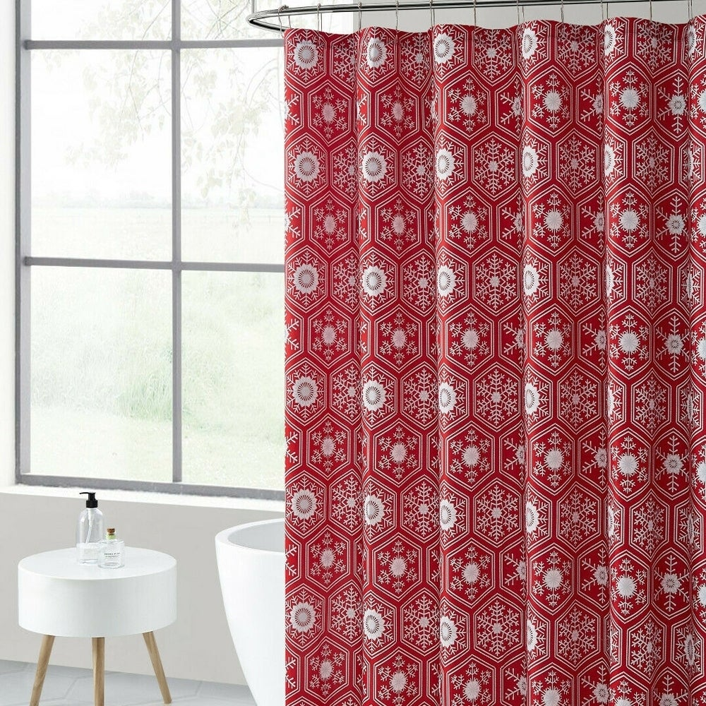"Polyester Shower Curtain with Hooks Red Christmas 72"" x Geometric Traditional Polyester - Diamond Home USA"