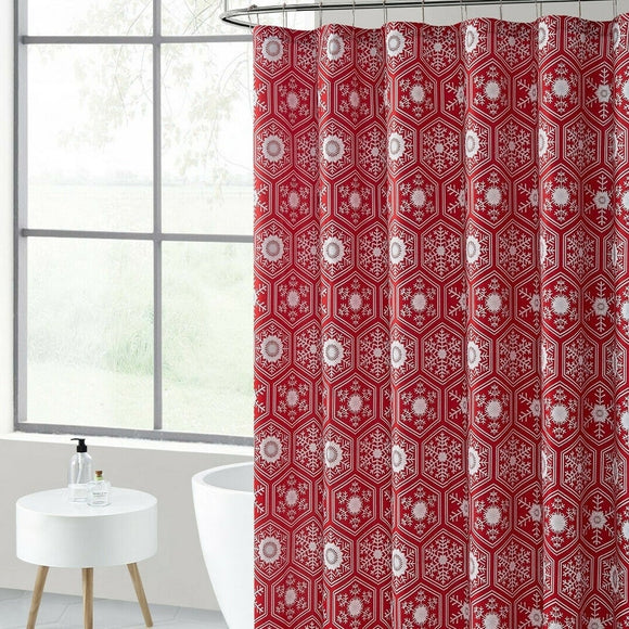 Polyester Shower Curtain with Hooks Red Christmas 72