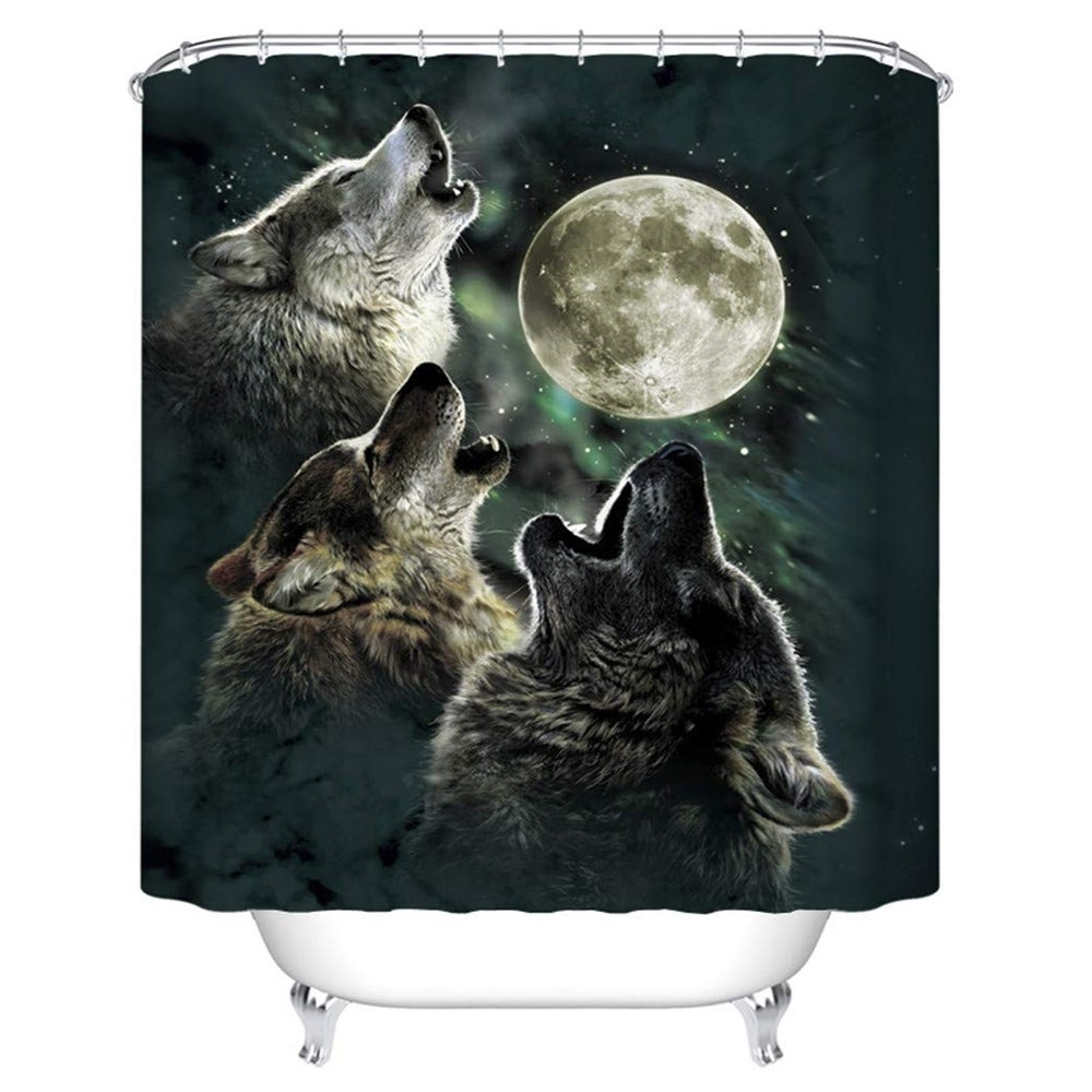 "Polyester Shower Curtain with Hooks Wolf Forest 72"" x Black Animal Print Vintage Polyester - Diamond Home USA"