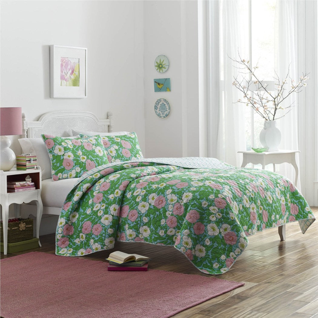 Poppy Fritz Floral Garden Cotton Quilt Set