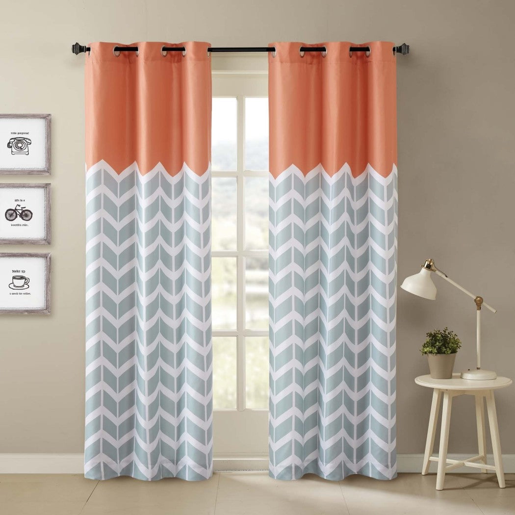 Chevron Window Curtain Set Zig Zag Panels Pair Trim Kids Themed Teen V Shaped Pattern Polyester Top Colour Vibrant