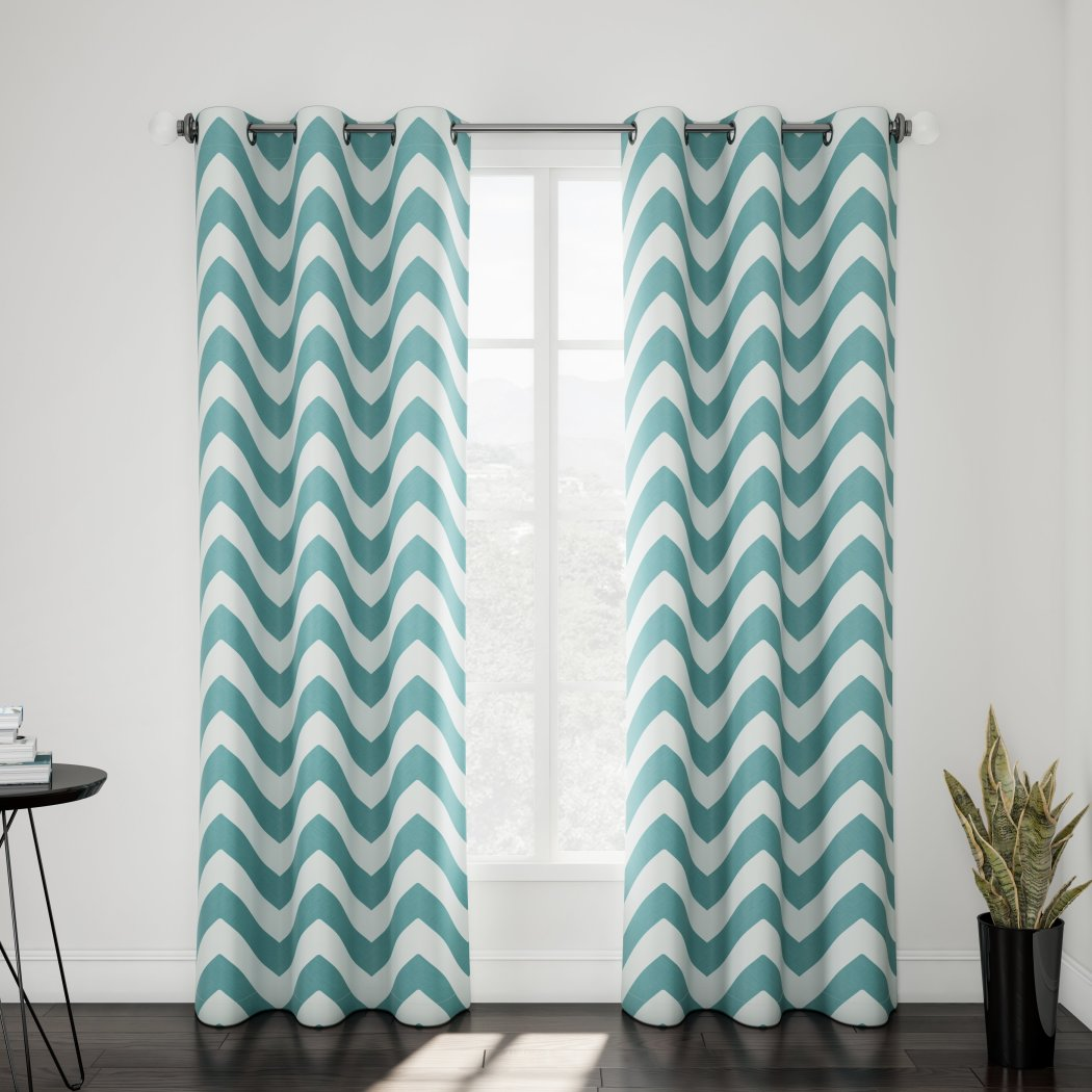 Classic Chevron Window Curtain Set Pair Panels Zig Zag Pattern Stylish Modern Vibrant Teen Themed Polyester Microfiber V Shaped