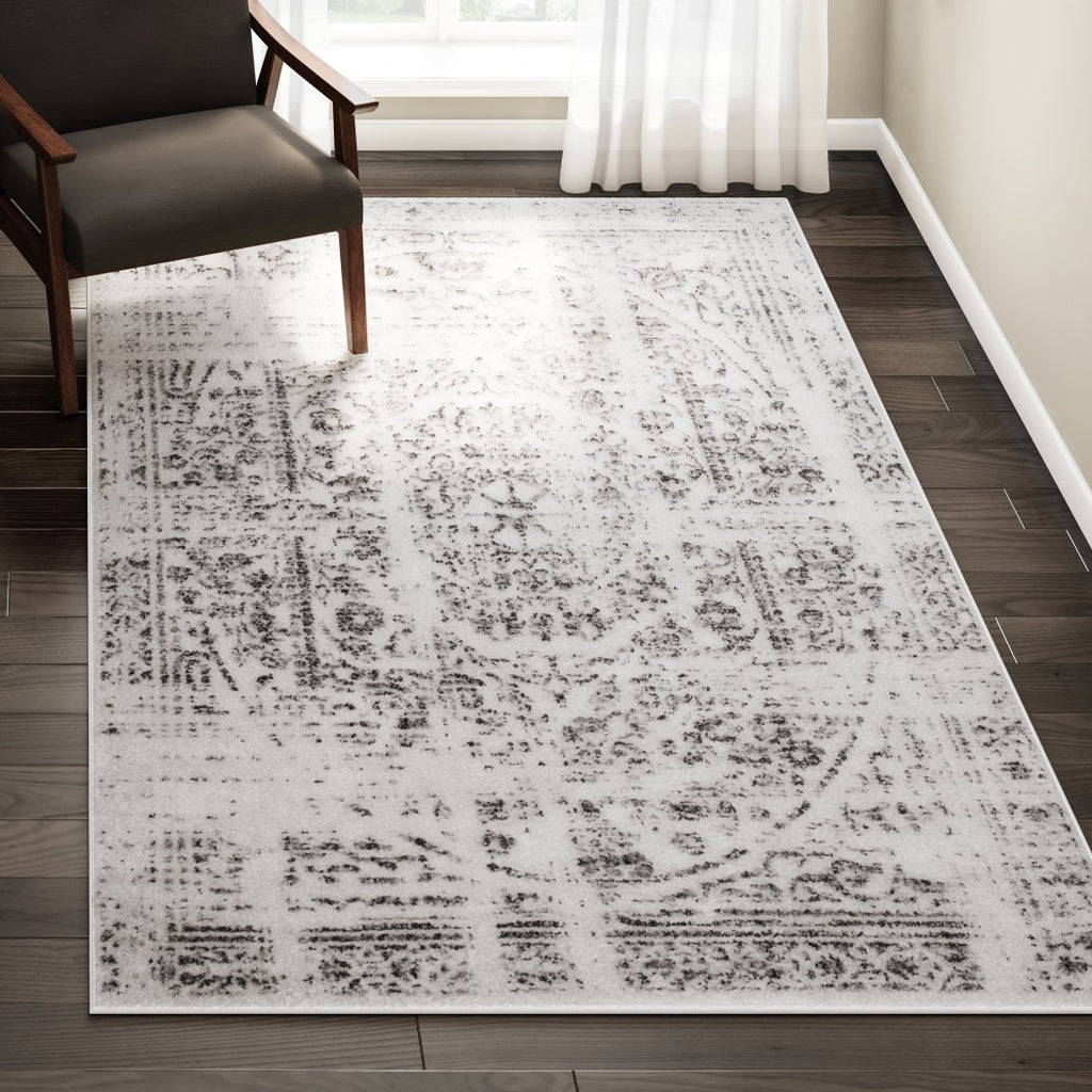 5' x 8' Geometric Traditional Distressed Vintage Pattern Grey Area Rug Polypropylene Soft Brush Artistic Luminous Fancy Indoor Rectangular Living Room - Diamond Home USA