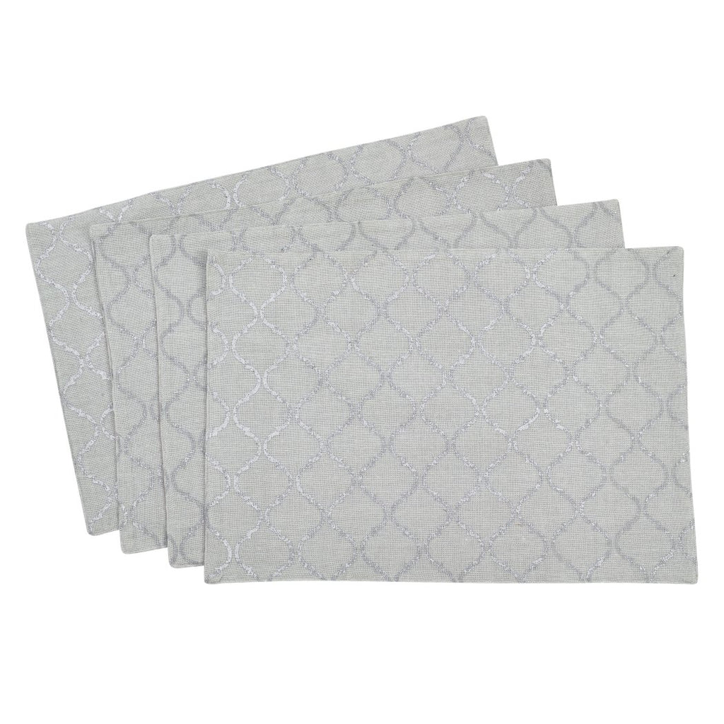 Moroccan Trellis Placemats Set Elegance Geometric Textured Pattern Place Mats Features Easy Clean Hand Wash All Seasons Rectangle