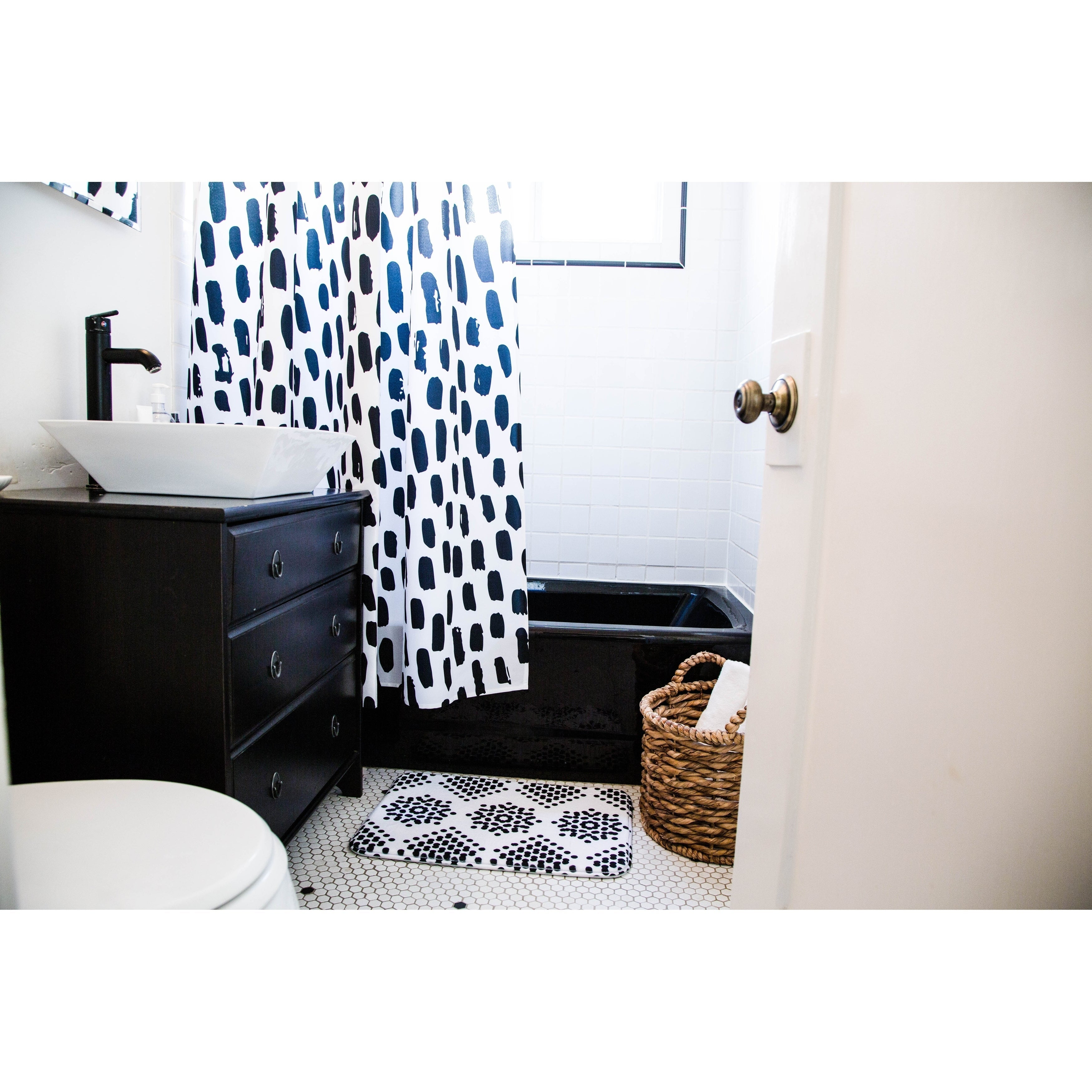 "Project M "" Splat White"" Black White Digital Shower Curtain Polyester - Diamond Home USA"