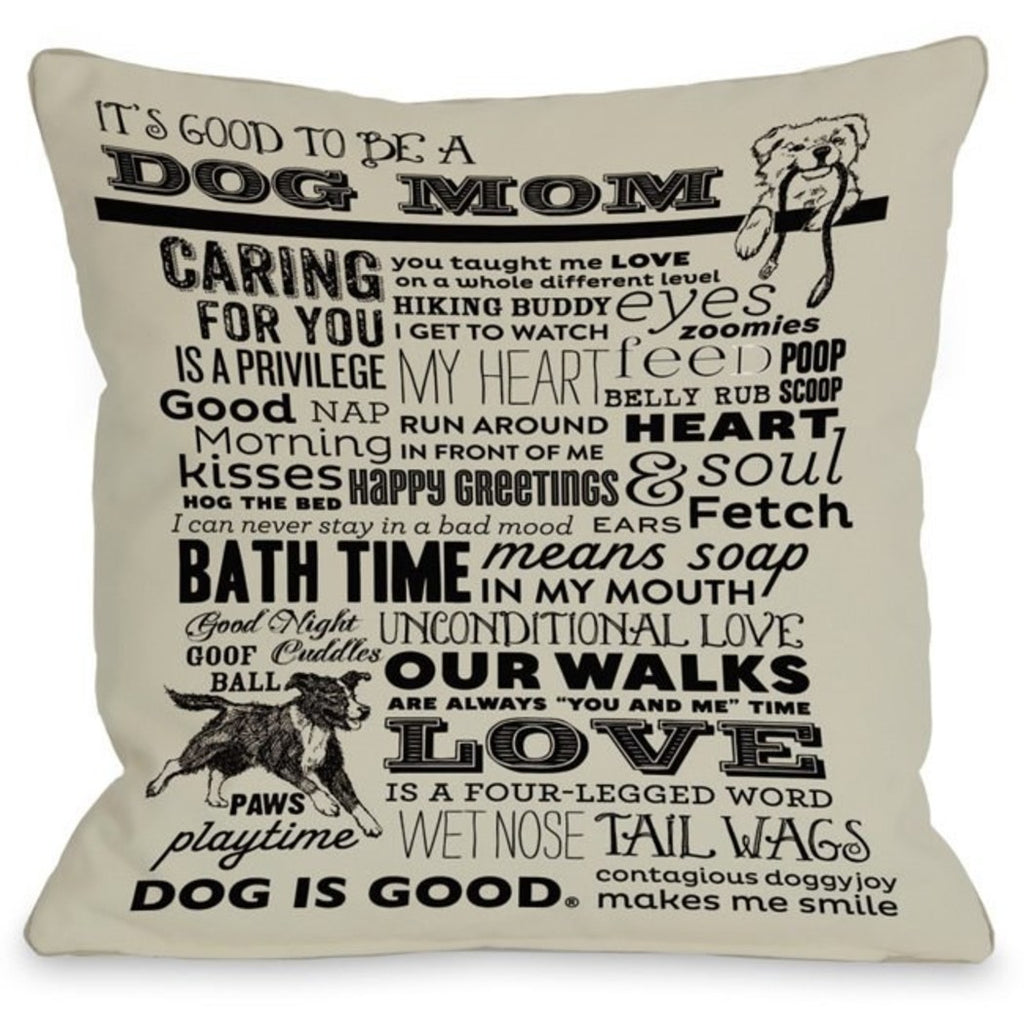 Mullti Proud be Dog Mom Throw Pillow Pet Animal Printed Sofa Pillow Adorable Dog Lover Theme Sofa Pillow Dog Cushions Dog Saying Square Shape