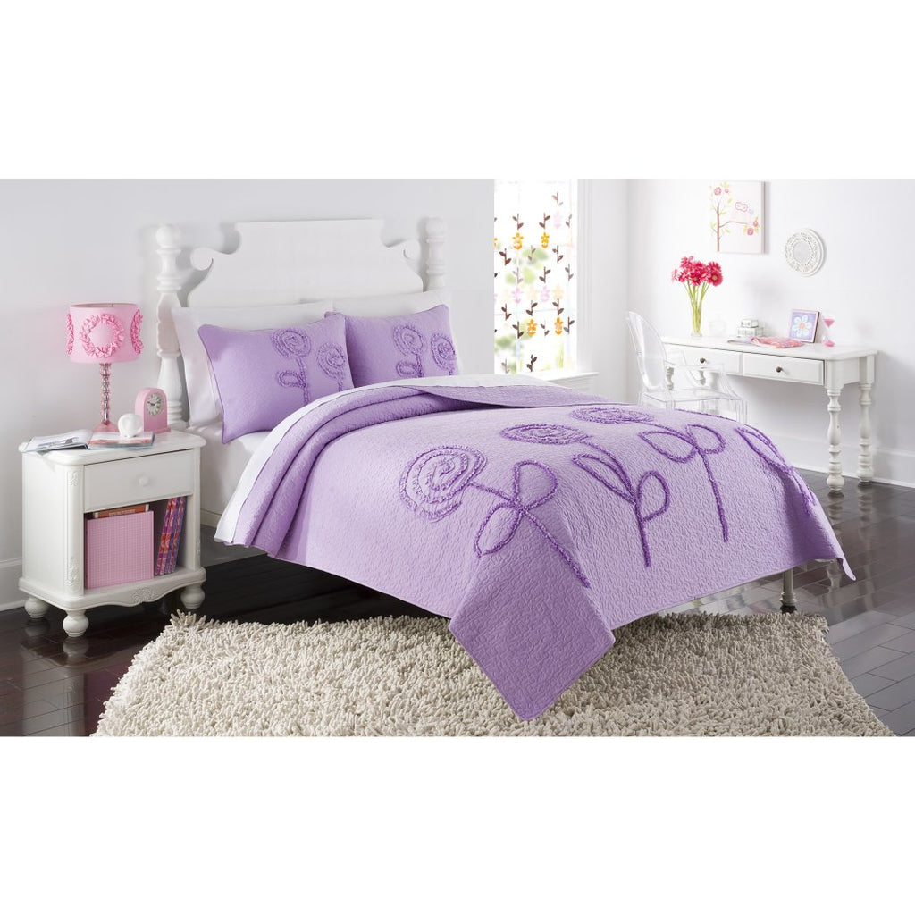 Purple Roses Full Quilt Set Violet Pretty Girl Colors Floral Flower Design Solid Light Plum Microfiber Shabby Chic Classic Kids Teens Girly Bedding - Diamond Home USA