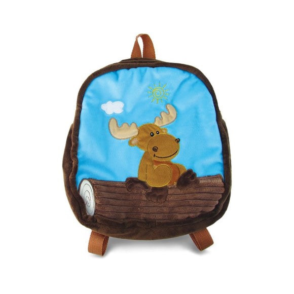 Blue Brown Moose Kids Backpack 11 Inch Animal Pattern Fabric Soft & Fuzzy - Diamond Home USA