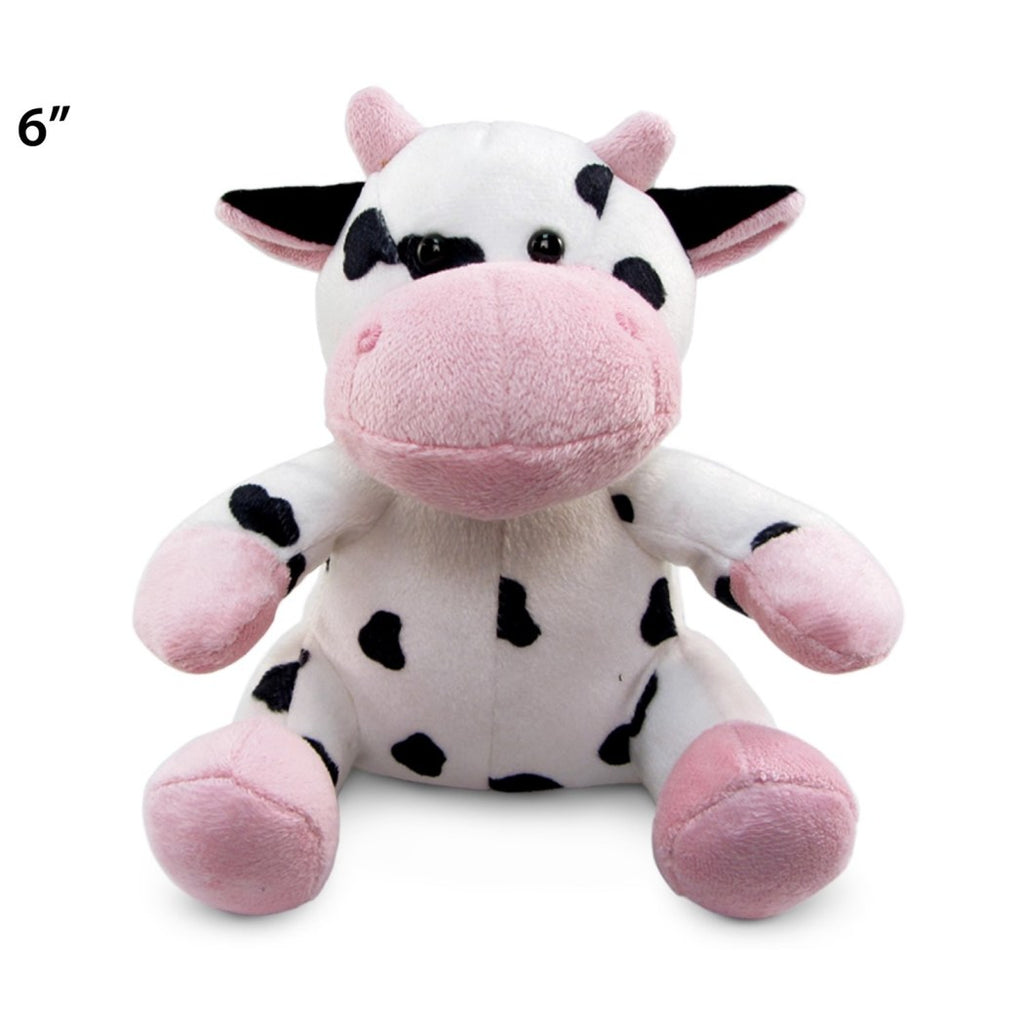 Kids 6 Inch Small Cute Baby Calf Stuffed Animal Black White Spots