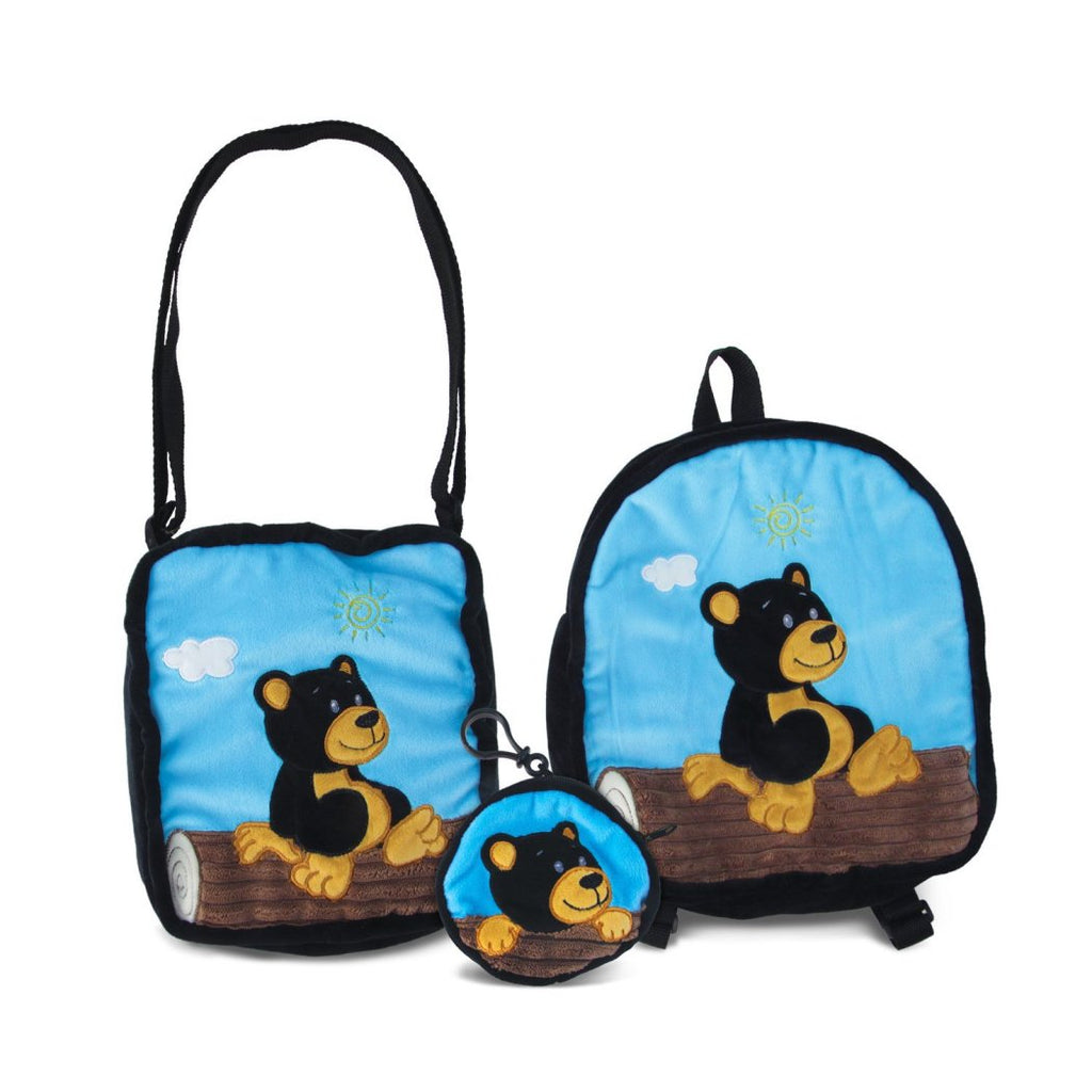 Black Blue Bear Softsided Kids Backpack Set 3 Animal Pattern Fabric - Diamond Home USA