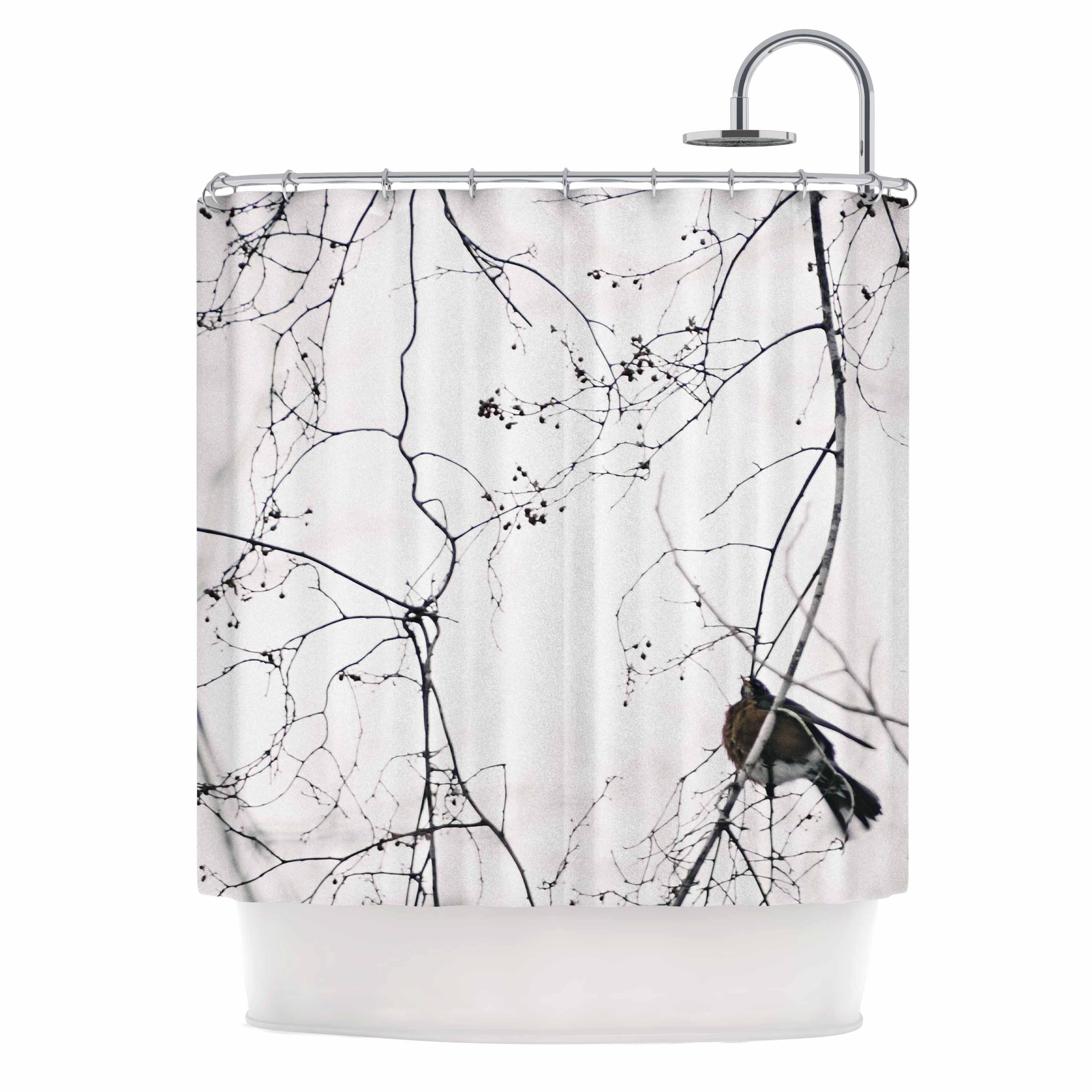 "Qing Ji ""vintage bird at dusk"" Black White Shower Curtain Polyester - Diamond Home USA"