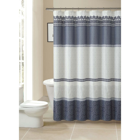 Grey White Geometric Pattern Shower Curtain Polyester Abstract Graphical Themed Detailed Colorful Horizontal Stripe Printed Modern Elegant Design - Diamond Home USA