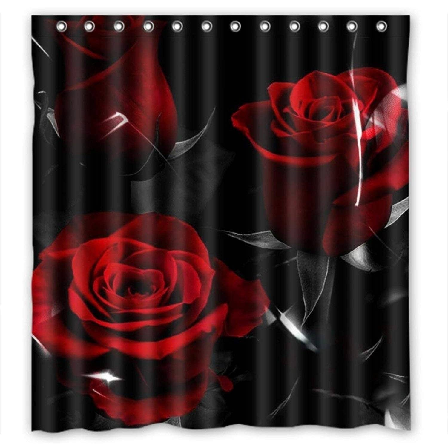 Red Rose And Black Leaves Home Fashion Custom Fabric Bathroom Curtain Graphic Print Casual Polyester - Diamond Home USA