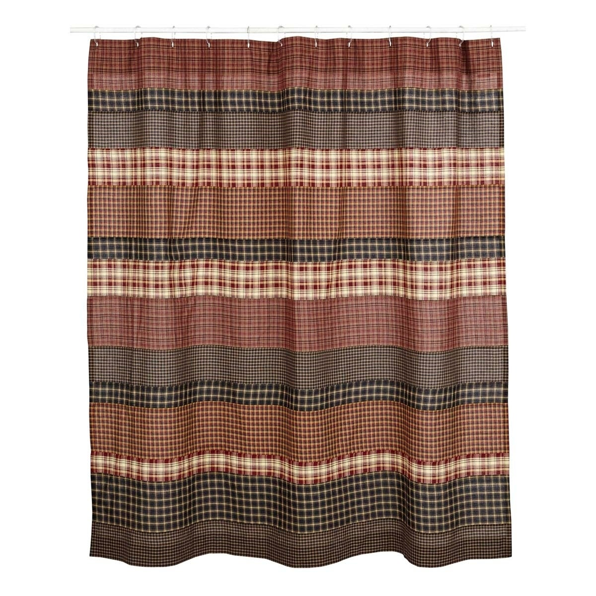Red Rustic Bath V H C Beckham Shower Curtain Rod Pocket Cotton Striped Black Brown - Diamond Home USA
