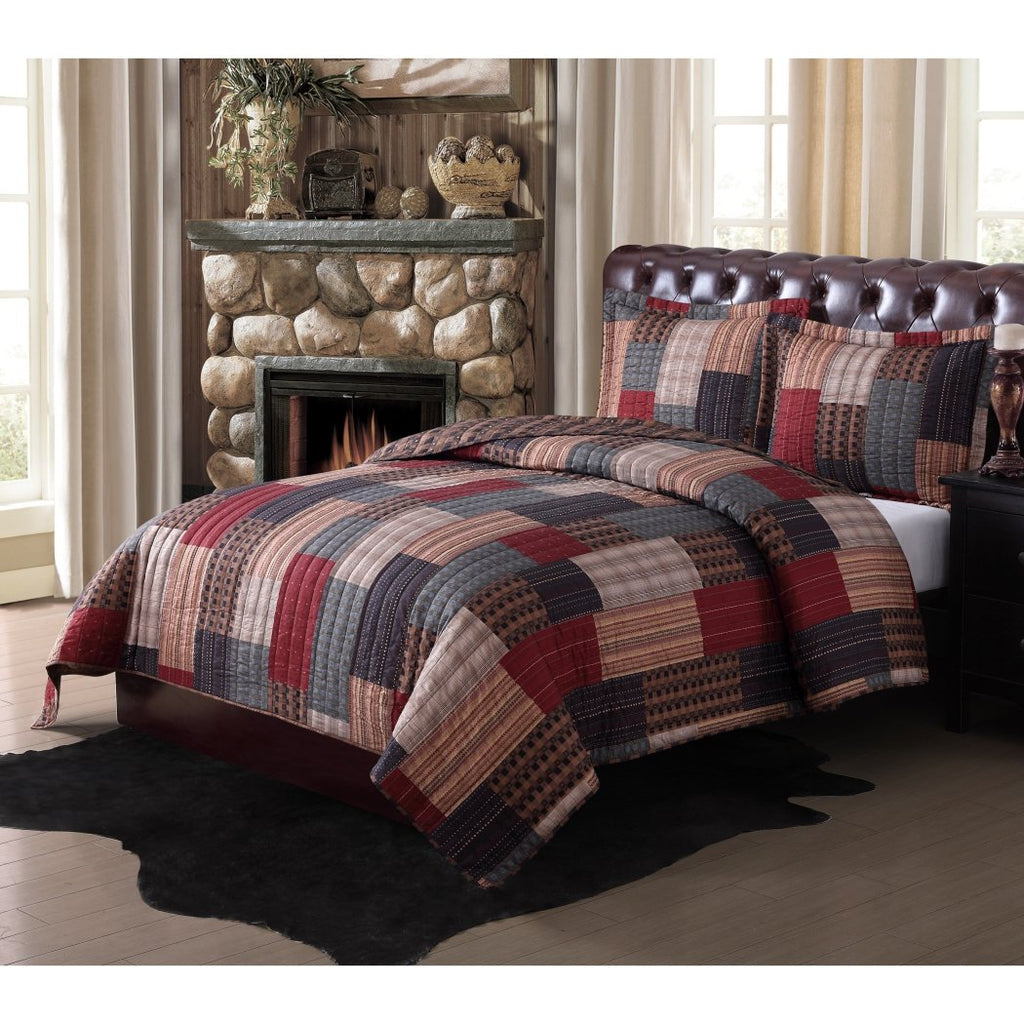 Patchwork Plaid Theme Quilt Set Stylish Patch Work Block Pattern Beddding Square Rectangle French Country Lodge Cabin Themed
