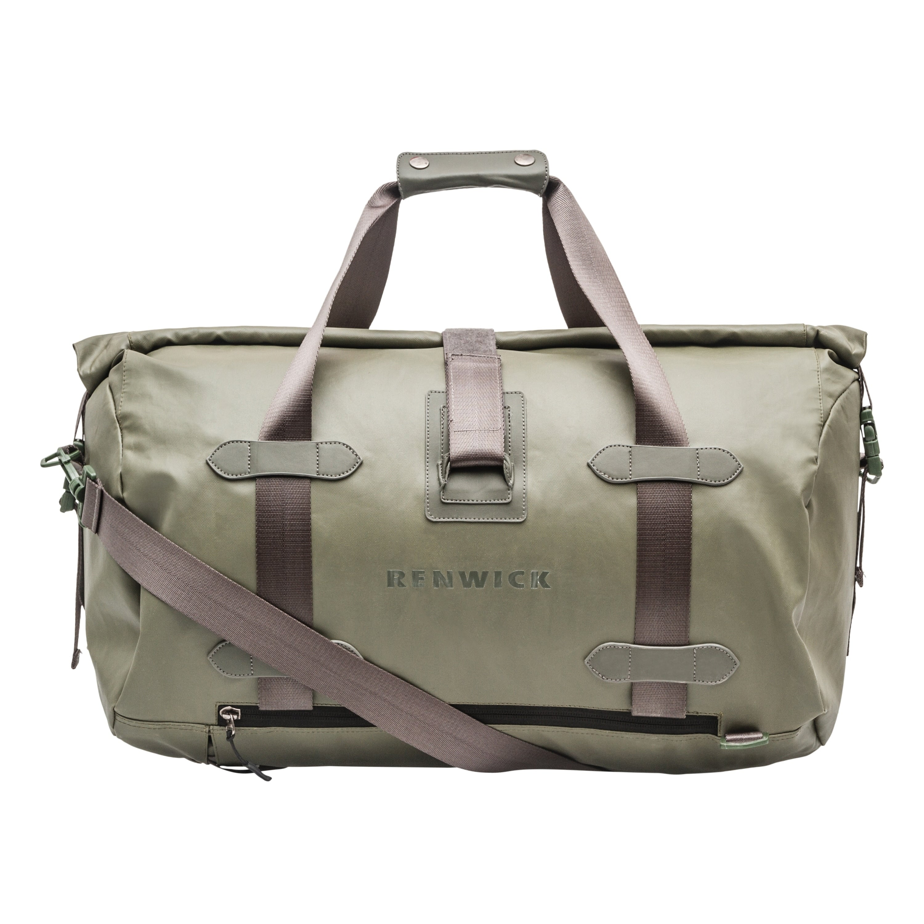 Roll Top Duffle W/ Backpack Straps Green Solid Polyester Laptop Compartment - Diamond Home USA