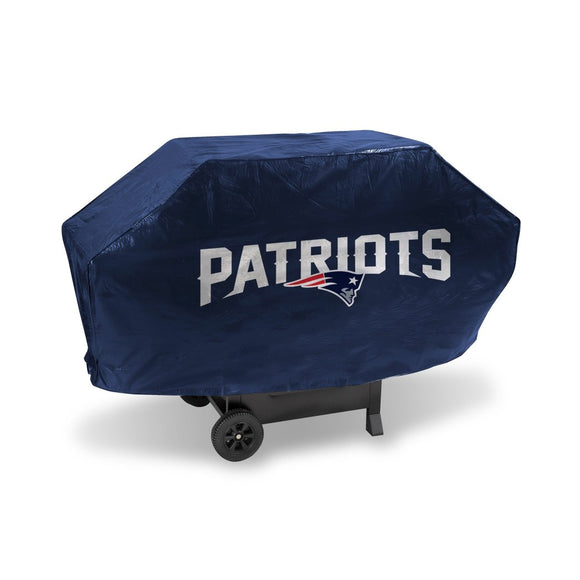 68 X 35 X 21 Inches NFL Patriots Grill Cover Football Themed Weather Resistant Vinyl Gas Barbeque Smoker Protector Team Logo Fan Merchandise Athletic - Diamond Home USA