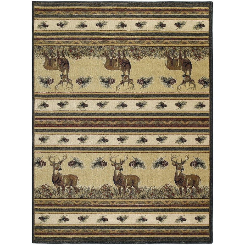 "1'11""x7'4"" Brown Cream Red Deer Wildlife Printed Runner Rug Indoor Animal Pattern Living Room Rectangle Carpet Southwest Cabin Themed Soft Synthetic - Diamond Home USA"