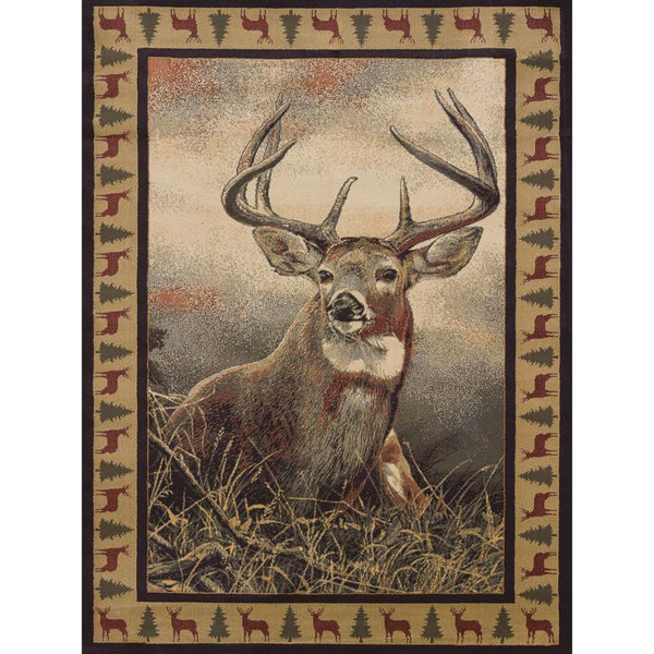 "1'10""x3' Beige Brown Grey Deer Grass Wildlife Printed Accent Rug Indoor Animal Pattern Living Room Rectangle Carpet Southwest Cabin Themed Soft - Diamond Home USA"