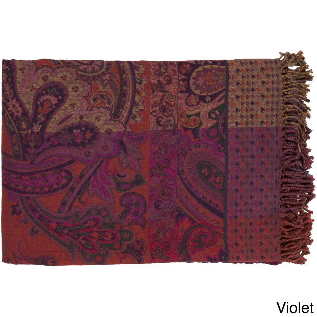 Unique Damask Wool Throw Blanket Kids Floral Paisley Pattern Lightweight Fringed Edge Woven Casual Classic