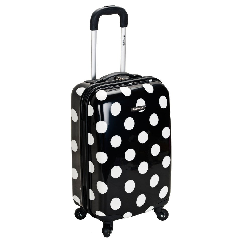 Girls Black White Polka Dot Carry Suitcase Kids Hardtop Dots Themed Luggage - Diamond Home USA