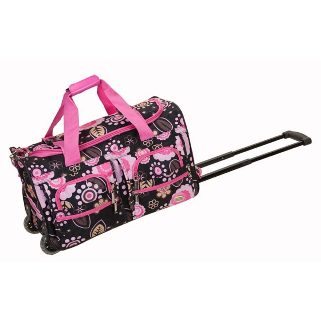 Pink Flower Rolling Duffel Bag 22 Inch Floral Pattern Fashion Softside Polyester Inline Skate Wheels Retractable HideAway Handle System Ergonomic - Diamond Home USA
