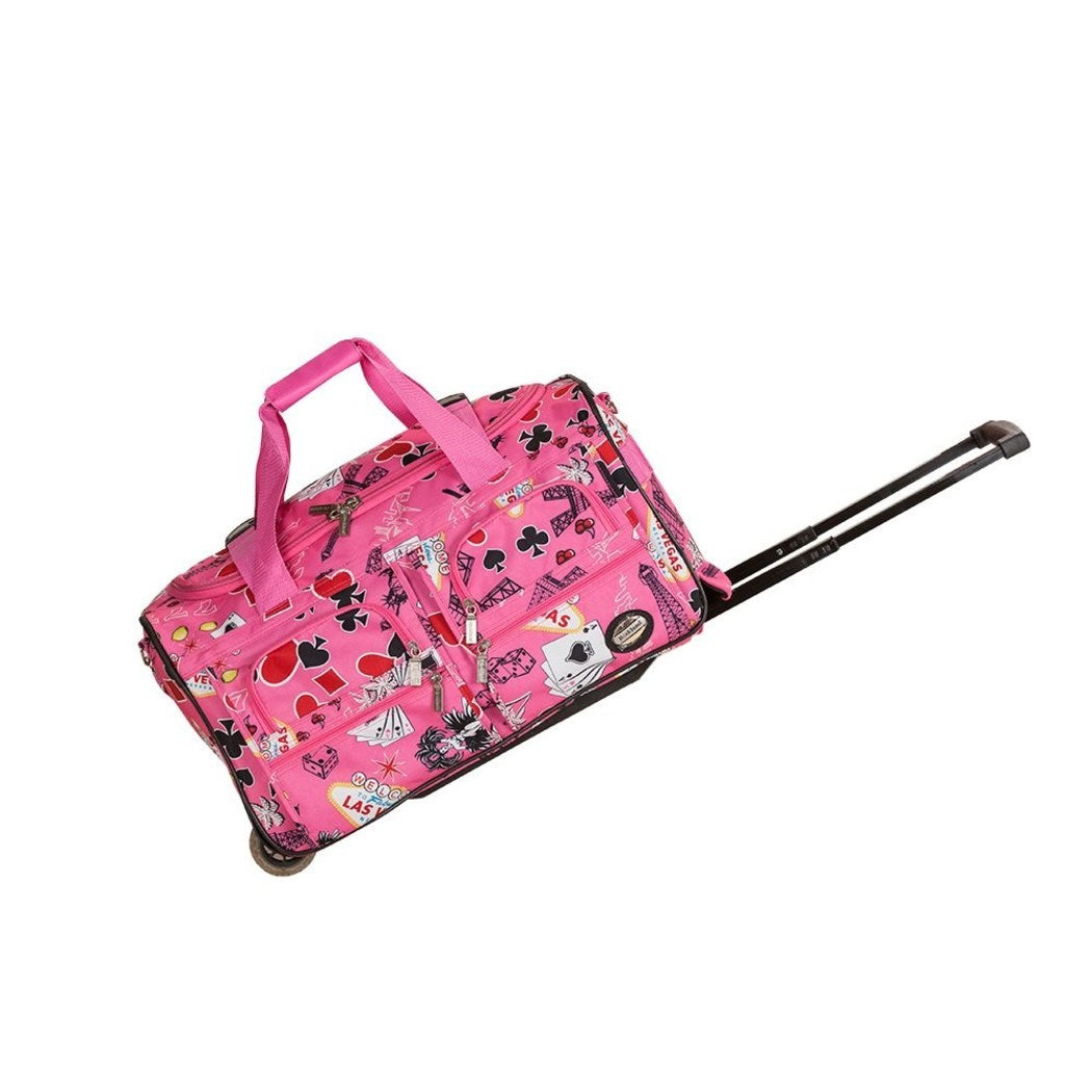 Pink Rolling Duffel Bag Graphic Pattern Fashion Softside Polyester Telescoping Handle Inline Skate Wheels Retractable HideAway Handle System - Diamond Home USA