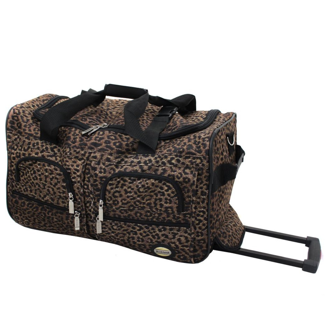 Brown Cheetah (Leopard) Duffel Bag Carry Rolling Compartment - Diamond Home USA