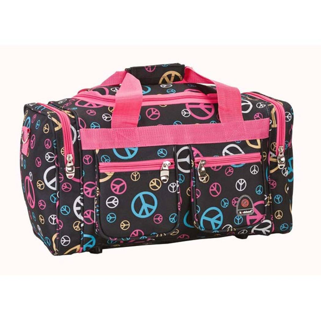 Pink Peace Sign Duffle Bag 19 inch Carry Geometric Pattern Fashion Rolling Softsided Flight Tote Bag Polyester Stylish Fabric U Top Opening Light - Diamond Home USA