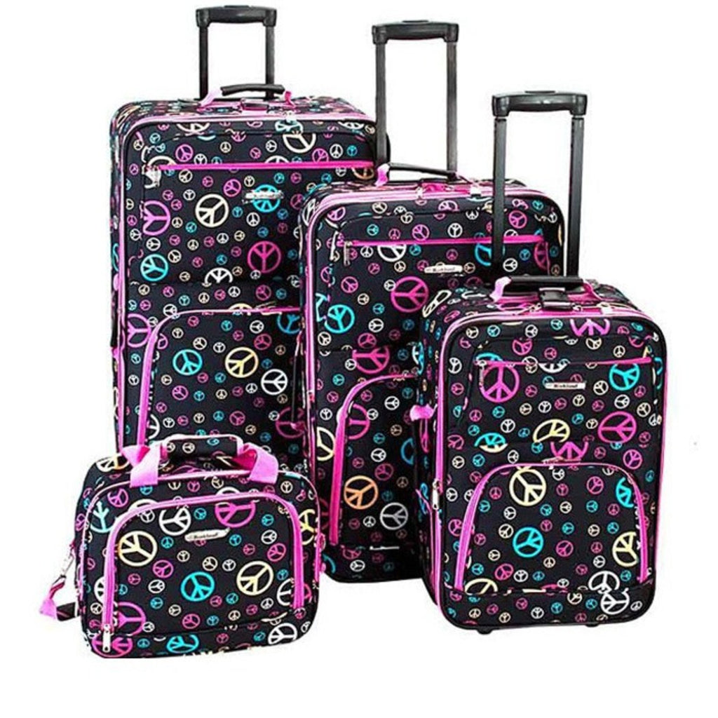 Girls Peace Sign Carry Rolling Upright Luggage Set Love Inspired Pattern Pink Blue Yellow polyester - Diamond Home USA