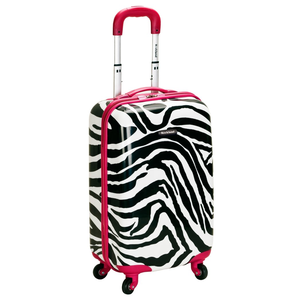 White Black Zebra Theme Luggage Hardtop Hardside Roller Set Pink Trim Safari Wild Animal Themed Hard Top Side Rolling Carry Suitcase Upright Spinner - Diamond Home USA