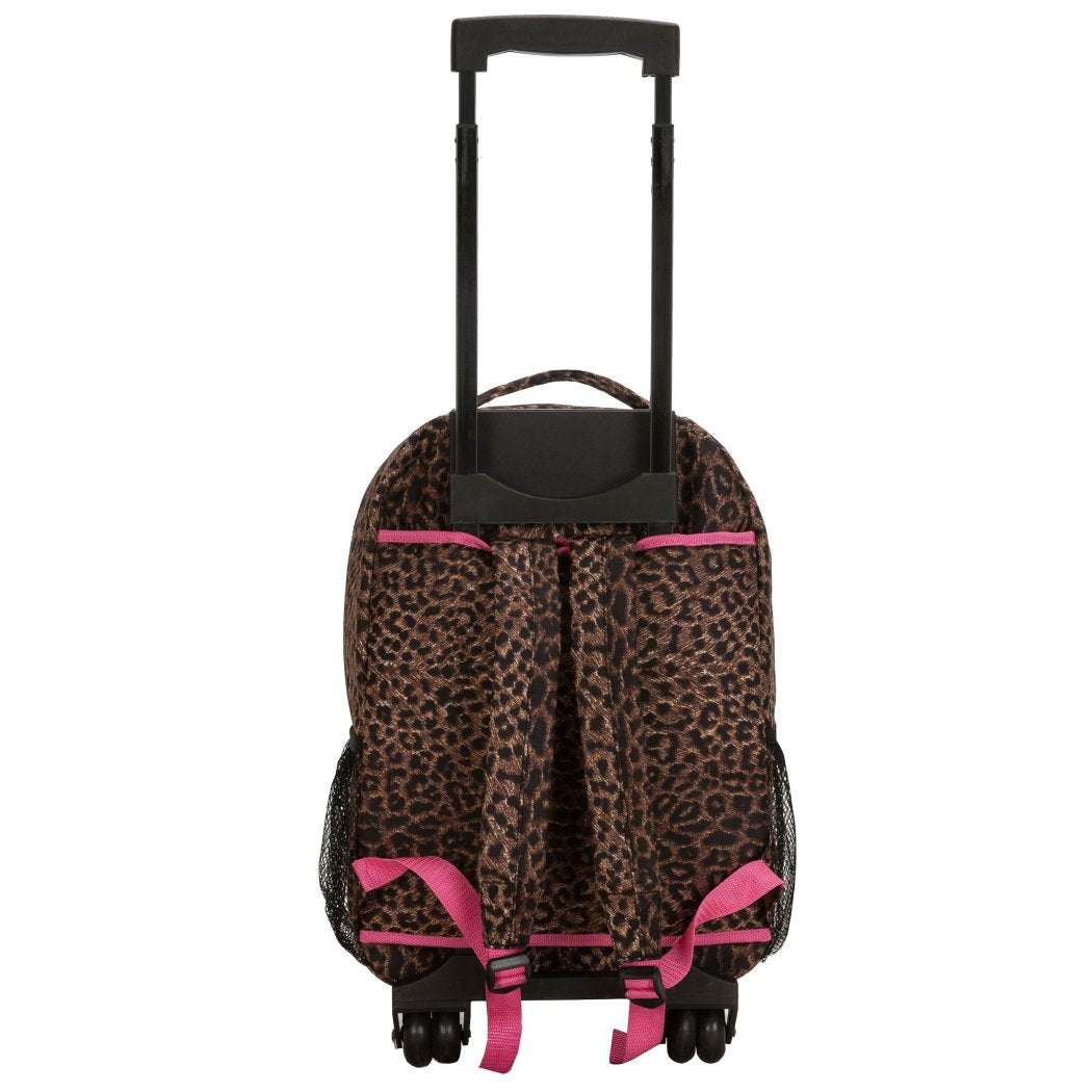 Girls Pink Trim Leopard Backpack Animal Cheetah Dots Themed Carry - Diamond Home USA