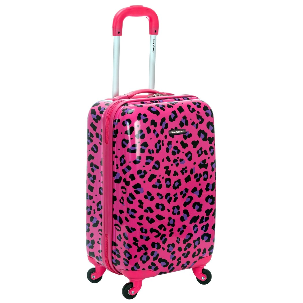 Pink Purple Black Leopard Theme Luggage Hardtop Hardside Roller Set Fuchsia Magenta Safari Wild Animal Cheetah Themed Hard Side Top Carry Suitcase - Diamond Home USA