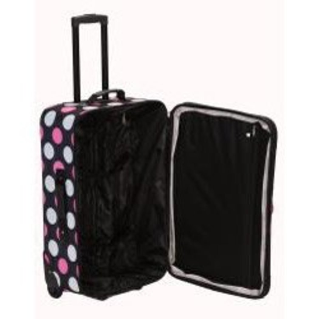 Pretty Girls Polka Dot Themed Luggage Set Pink Dots Rolling Carry Bag - Diamond Home USA